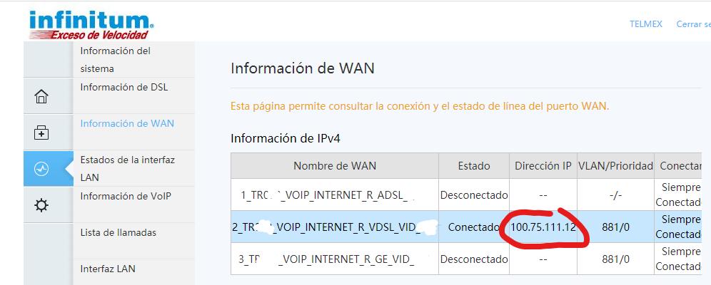 Como saber si CG NAT esta activado en en un modem TELMEX, la ip asignada empieza con 100.75.*.*